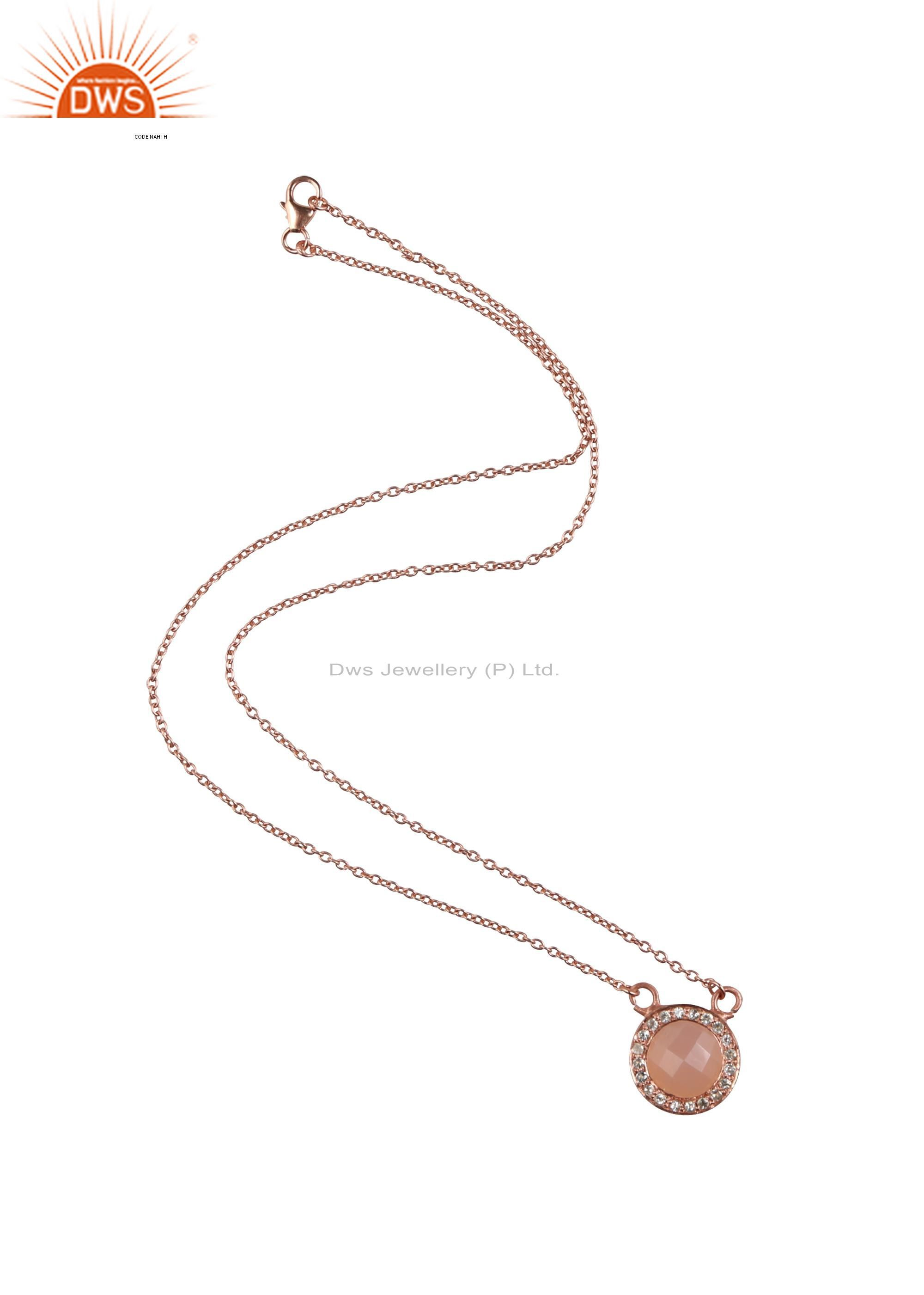 18k rose gold plated silver rose chalcedony and white topaz chain necklace