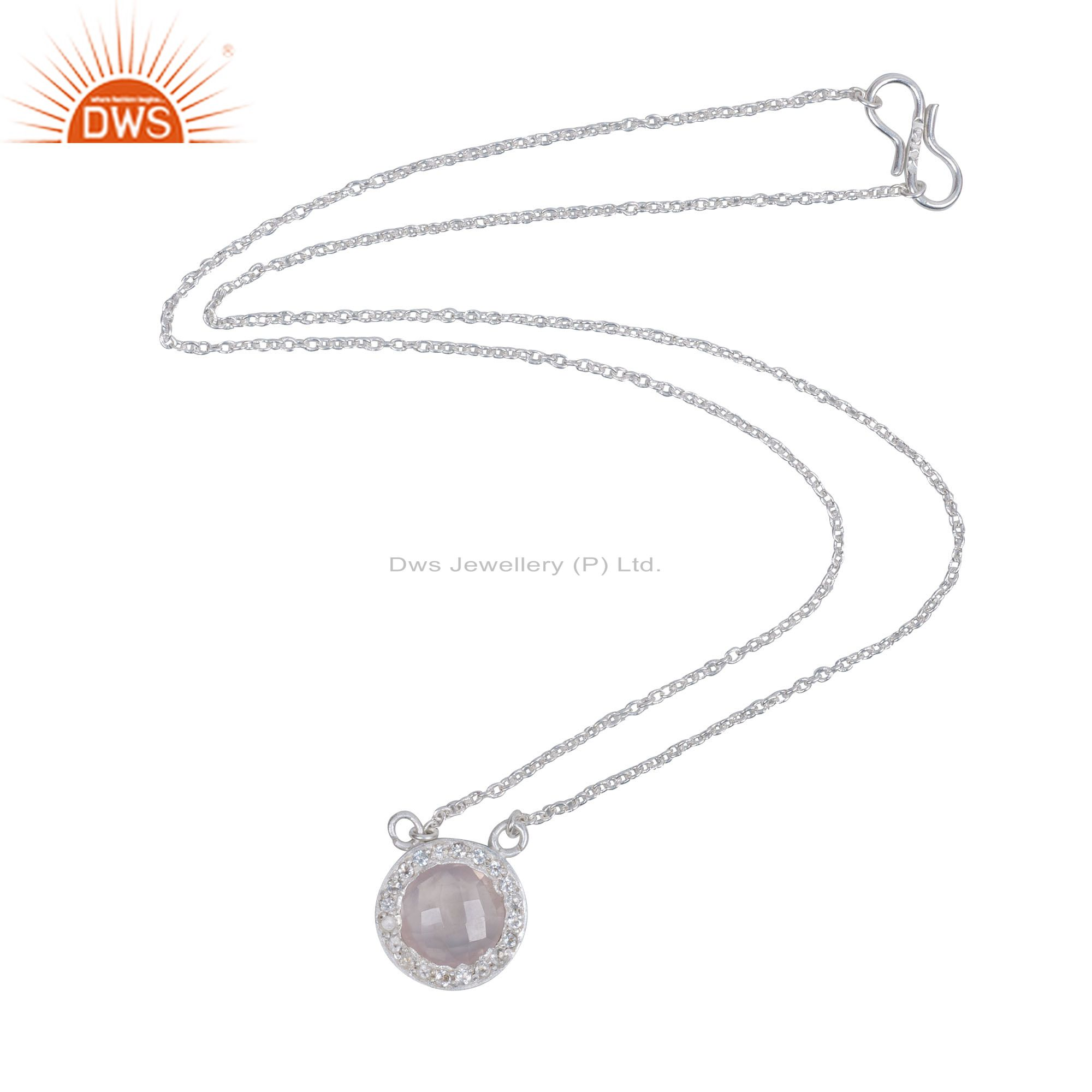 925 Sterling Silver Rose Quartz And White Topaz Halo Pendant Chain Necklace
