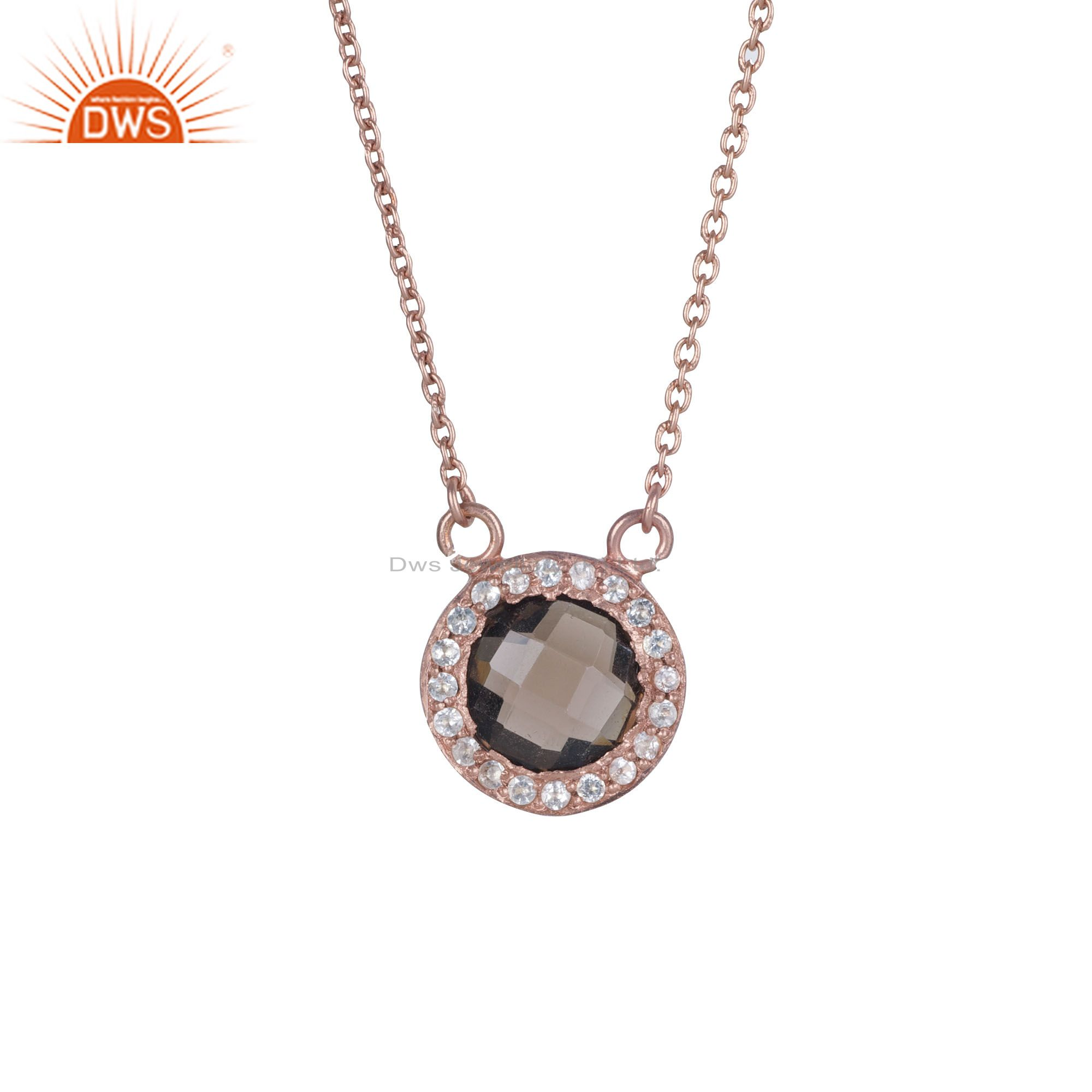 18K Rose Gold Plated Silver Smoky Quartz And White Topaz Pendant Chain Necklace