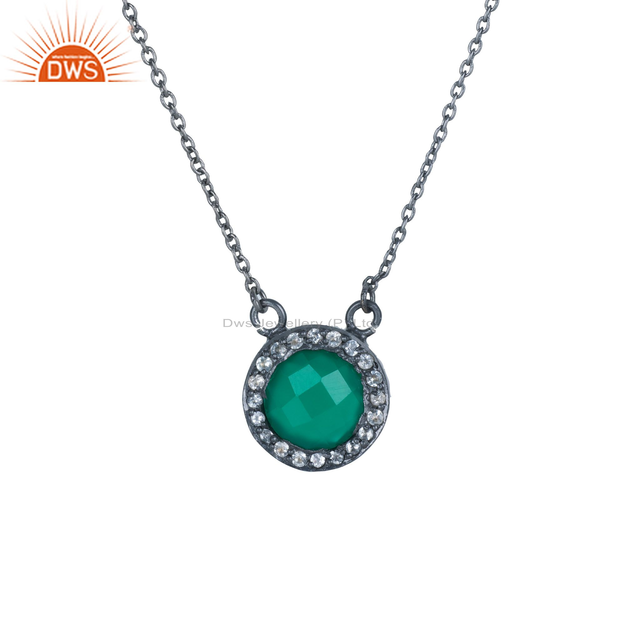 925 Sterling Silver Oxidized Green Onyx And White Topaz Pendant Chain Necklace