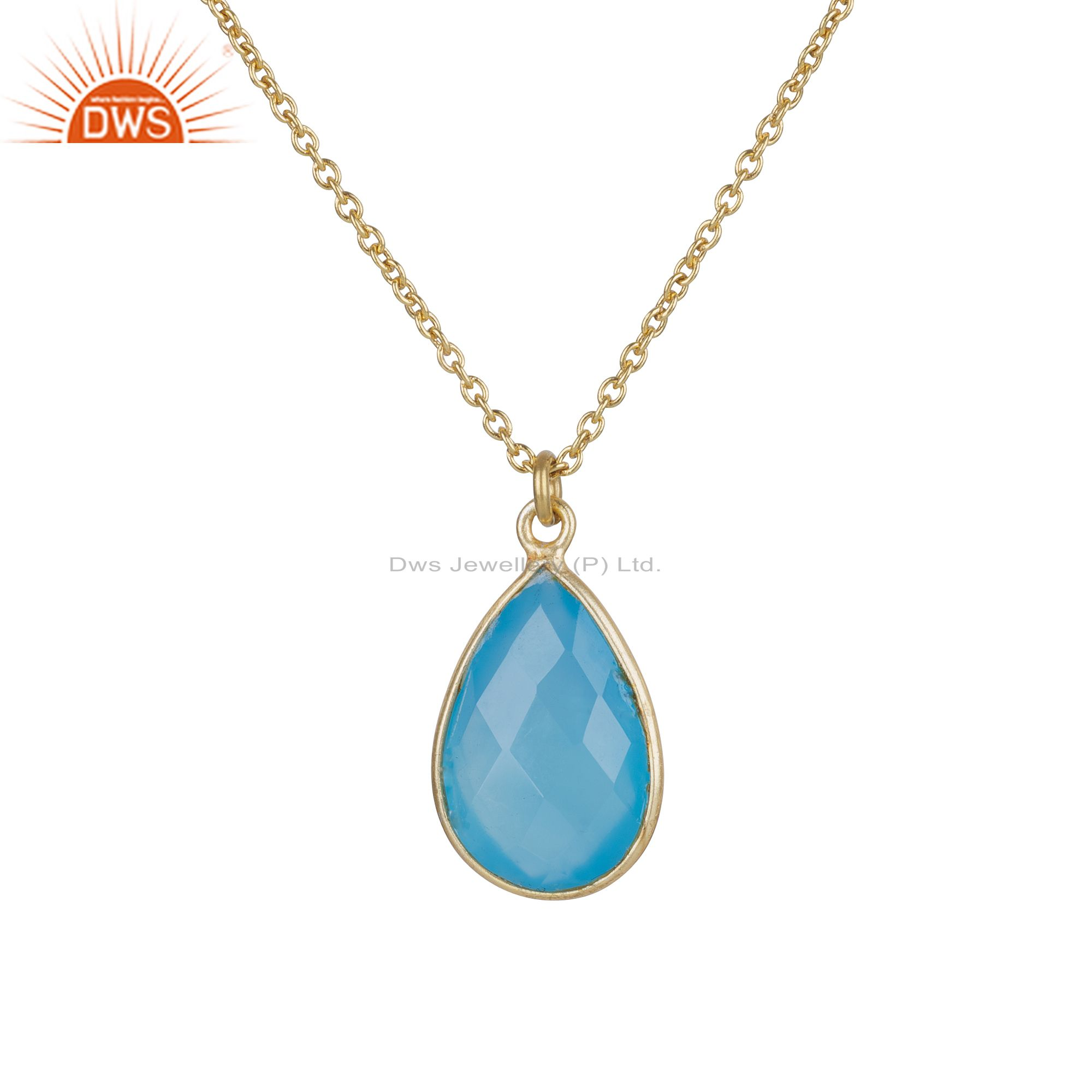18K Yellow Gold Plated Silver Blue Chalcedony Bezel Set Drop Pendant With Chain