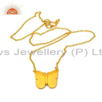 18k yellow gold plated sterling silver butterfly pendant with chain necklace