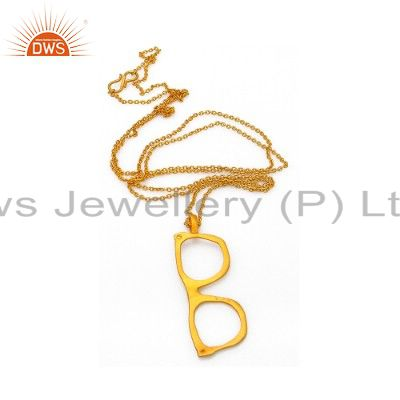 18k yellow gold plated sterling silver goggles design pendant chain necklace