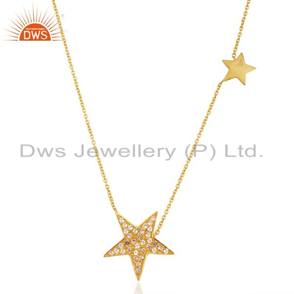 18K Yellow Gold Plated Sterling Silver White Topaz Star Charms Chain Necklace