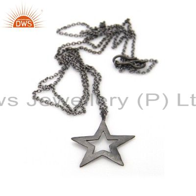 Oxidized Sterling Silver Open Star Designer Pendant With Chain Necklace