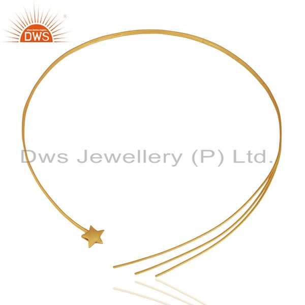 22K Yellow Gold Plated Sterling Silver Circle Pendant With Chain Necklace