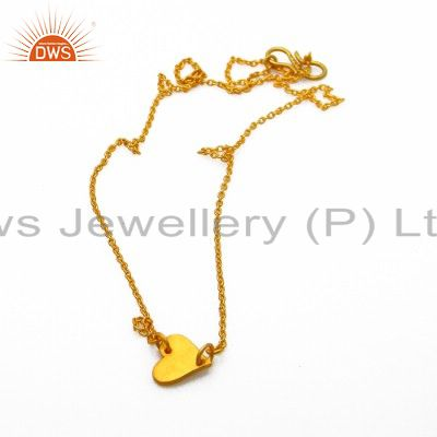 22k yellow gold plated sterling silver heart white topaz heart charms necklace