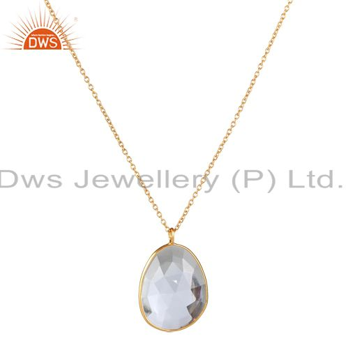 18k yellow gold plated sterling silver crystal quartz bezel pendant with chain