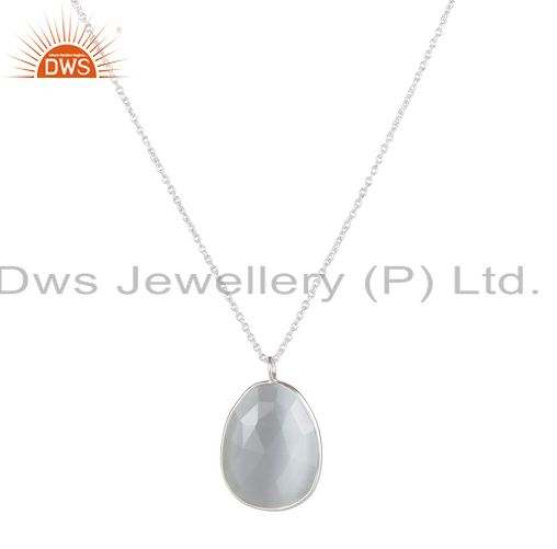 Handmade Solid Sterling Silver White Moonstone Bezel Set Pendant With Chain