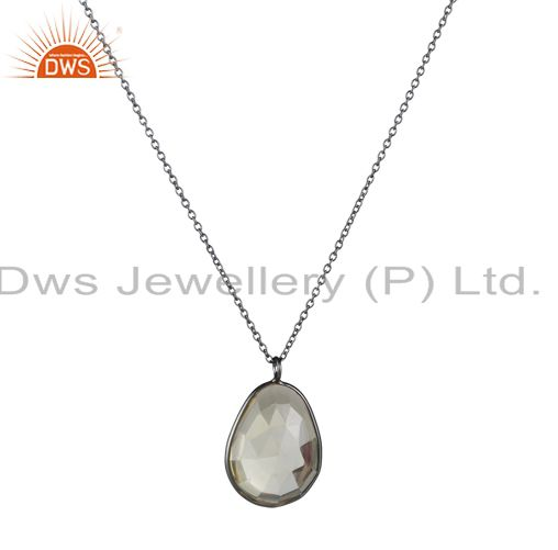 Oxidized Solid Sterling Silver Faceted Smoky Quartz Bezel Set Pendant With Chain