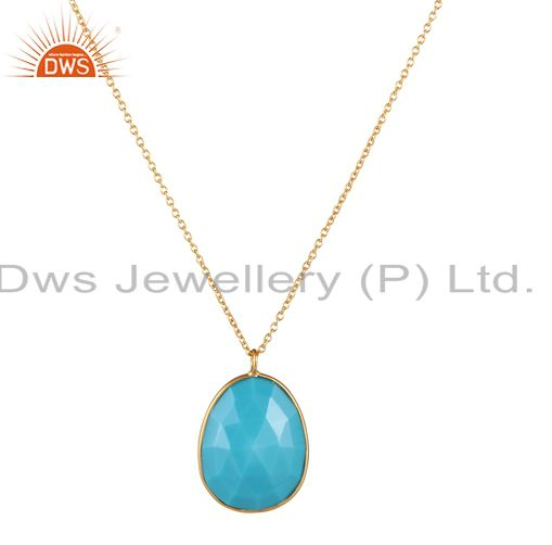 18K Yellow Gold Plated Sterling Silver Turquoise Bezel Set Pendant With Chain