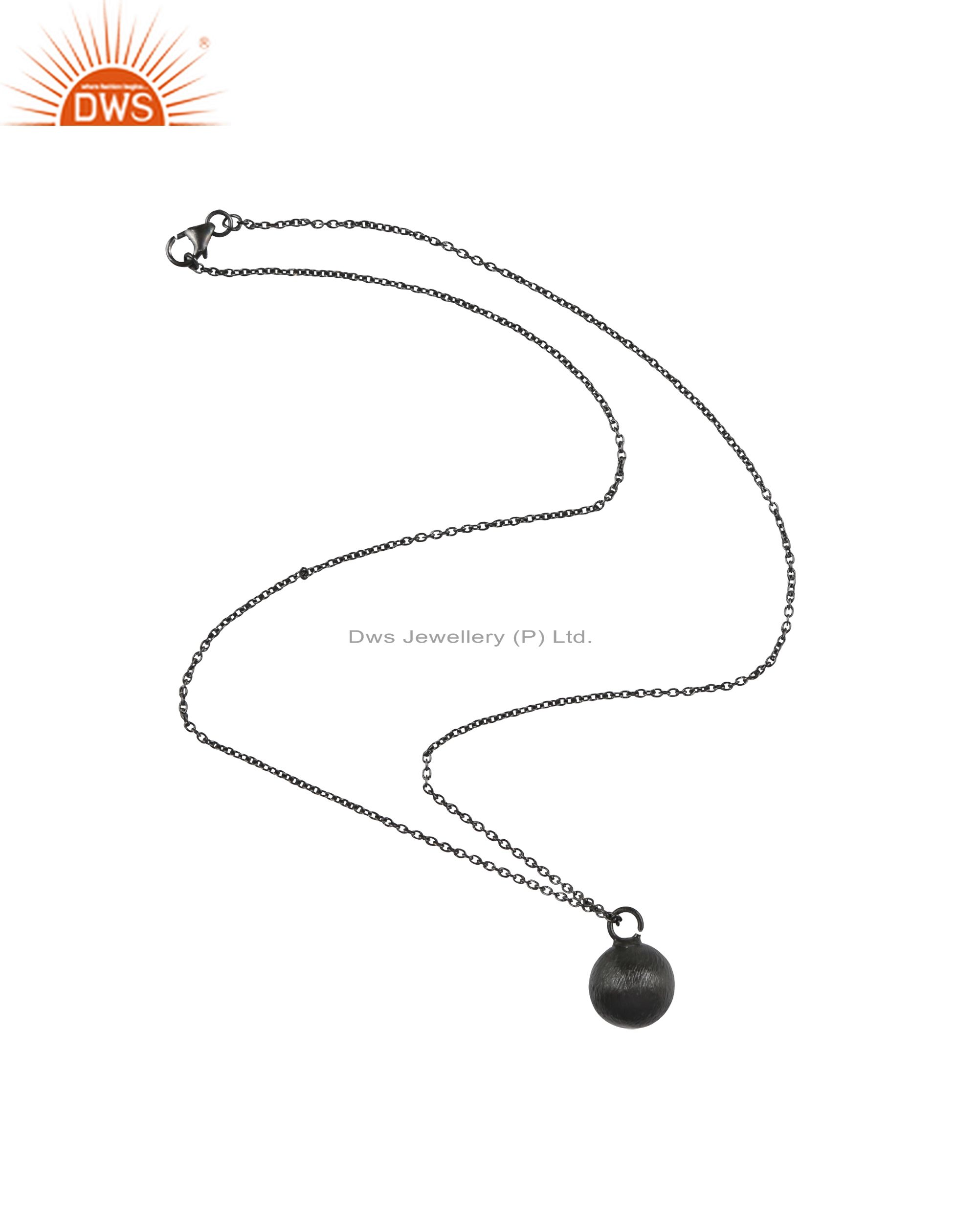 Black Rhodium Plated Sterling Silver Brushed Finish Pendant Link Chain Necklace