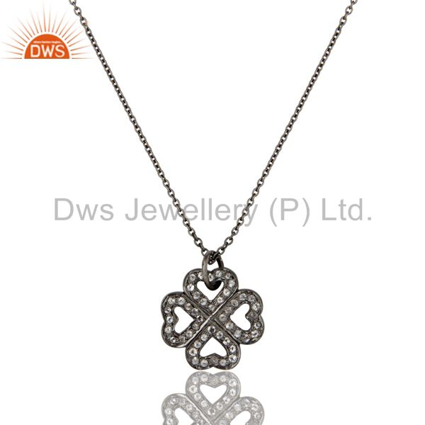925 Sterling Silver With Oxidized White Topaz Heart Designer Pendant With Chain