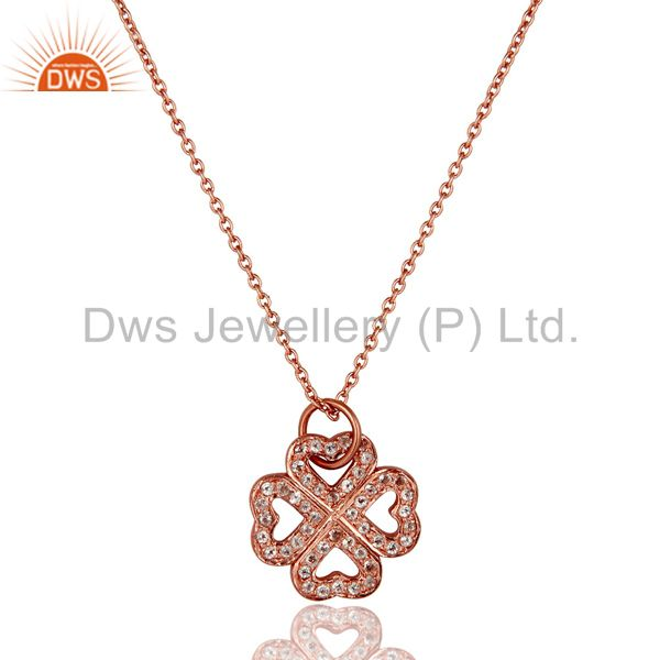 18K Rose Gold Plated Sterling Silver White Topaz Pendant With Chain Necklace