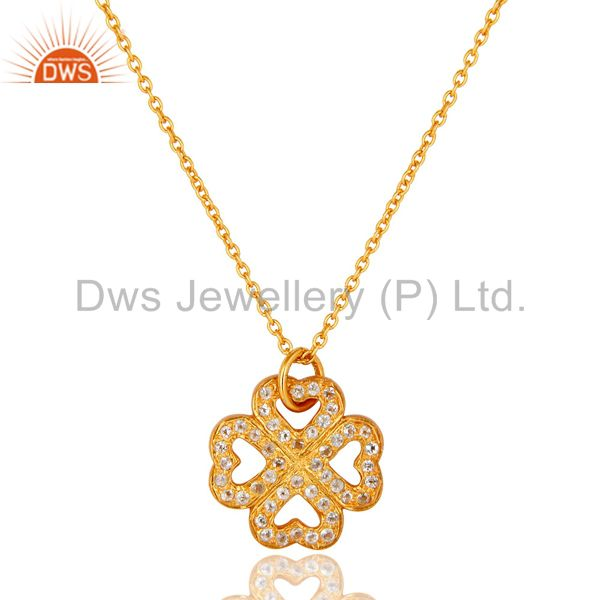 18k yellow gold plated sterling silver white topaz pendant necklace