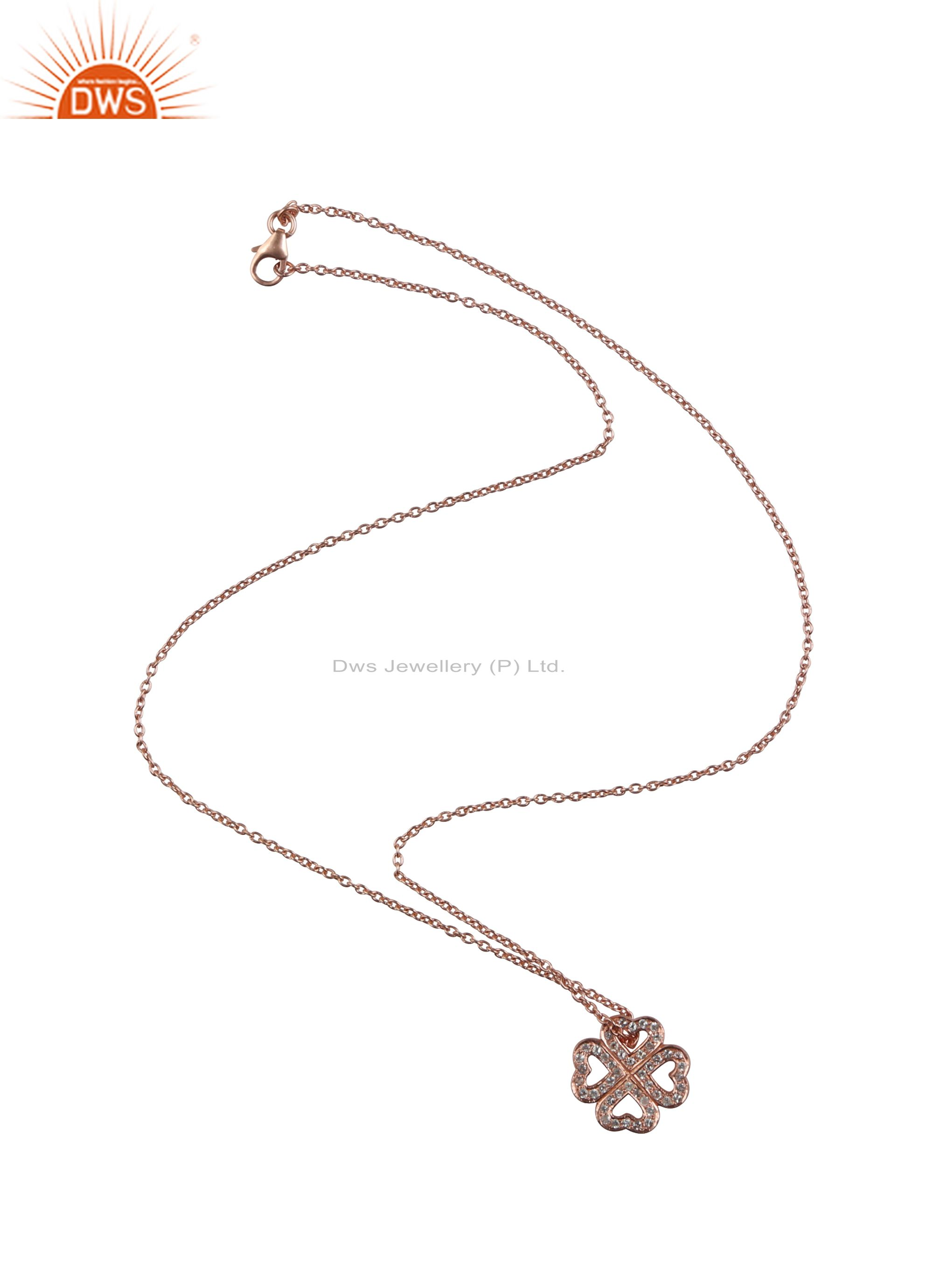 18K Rose Gold Plated Sterling Silver White Topaz Heart Pendant With Chain