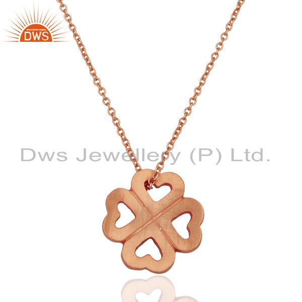 18K Rose Gold Plated Sterling Silver Heart Design Pendant With Chain Necklace