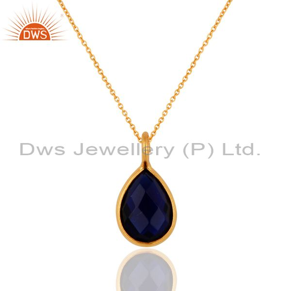 18K Yellow Gold Plated Sterling Silver Blue Corundum Bezel Pendant With Chain