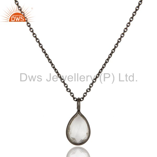 Oxidized sterling silver crystal quartz bezel set drop pendant with chain