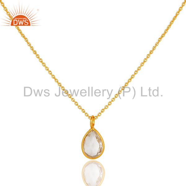 18k gold plated sterling silver crystal quartz bezel set drop pendant with chain