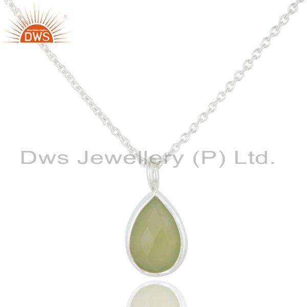 925 Sterling Silver Green Chalcedony Gemstone Bezel Set Pendant With Chain