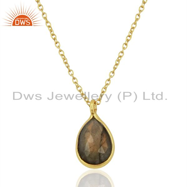 18k gold plated sterling silver labradorite bezel set drop pendant with chain