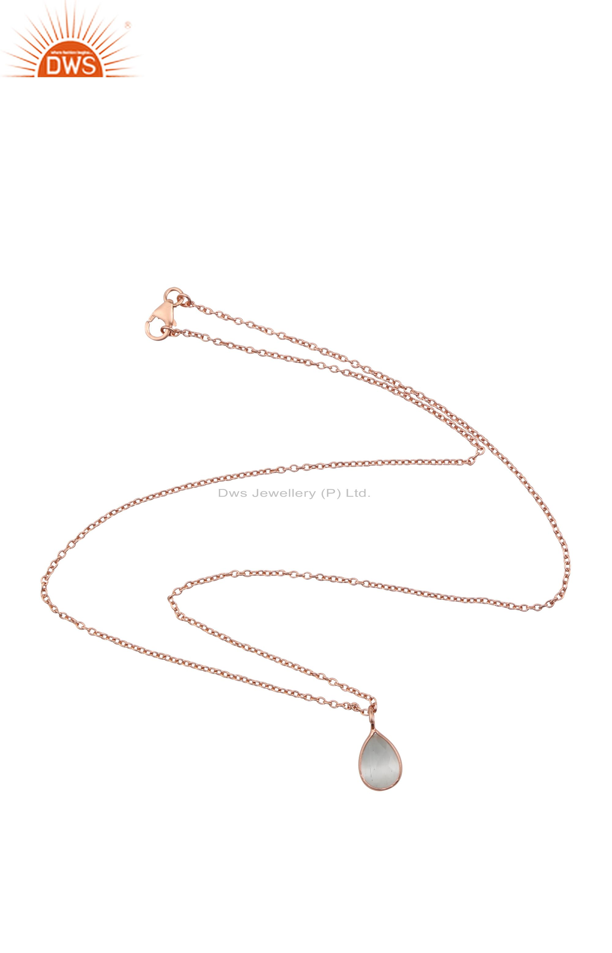 18k rose gold plated silver white moonstone bezel set drop pendant with chain