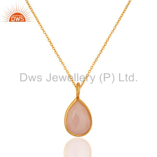 18k yellow gold plated sterling silver rose chalcedony bezel set pendant chain