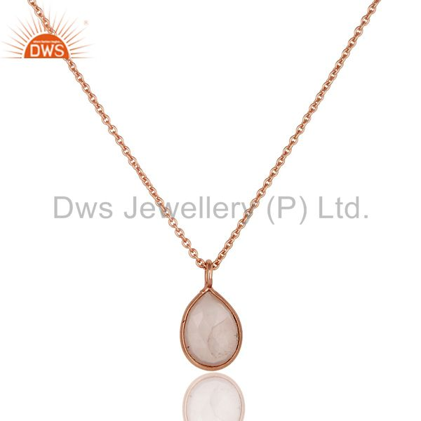 18K Rose Gold Plated 925 Sterling Silver Rose Quartz 30