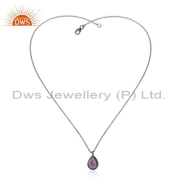 Tear Drop Briolette Amethyst Pendant With Black Silver Chain