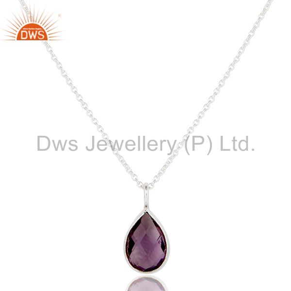 Solid Steling Silver Handmade Fashion Pear Style Amethyst Chain Pendant Necklace