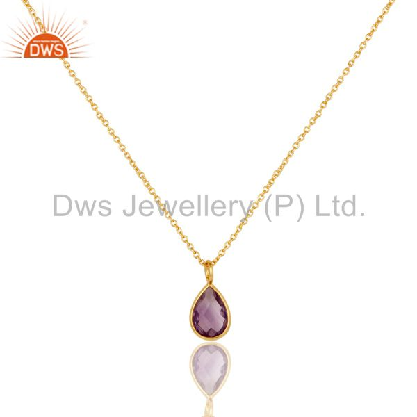 18K Yellow Gold Plated Sterling Silver Amethyst Bezel Drop Pendant With Chain