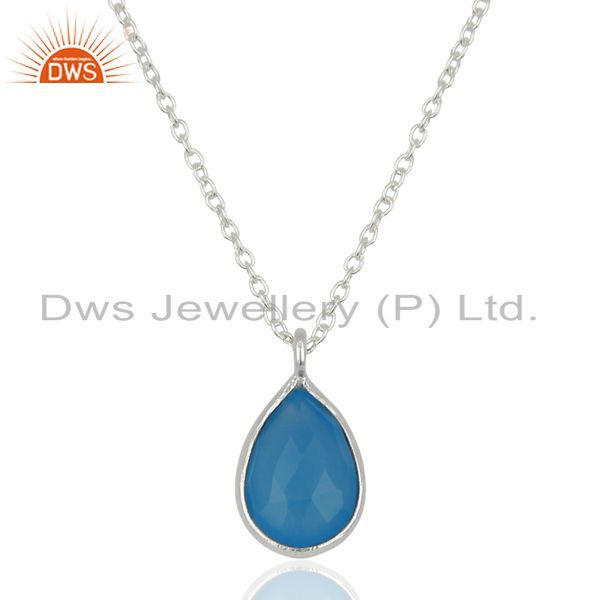 18K Yellow Gold Plated Handmade Dyed Chalcedony Bezel Set Chain Pendant Necklace