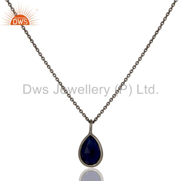Black Oxidized 925 Sterling Silver Blue Corundum Bezel Pendant With Chain