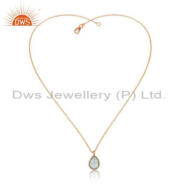 Tear Drop Blue Topaz Pendant With Rose Plated Silver Chain