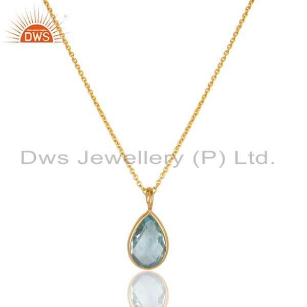 18k yellow gold plated 925 sterling silver blue topaz bezel set chain pendant