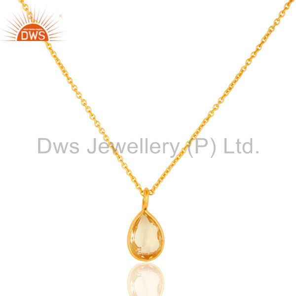 18K Yellow Gold Plated Sterling Silver Bezel Set Citrine Pendant With Chain