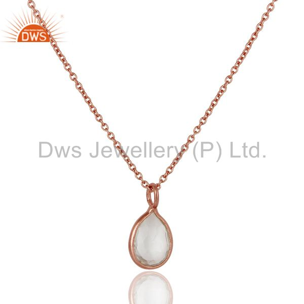 18k rose gold plated sterling silver crystal quartz gemstone drop pendant chain