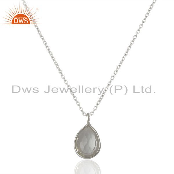 925 Sterling Silver Crystal Quartz Gemstone Bezel Set Pendant With Chain