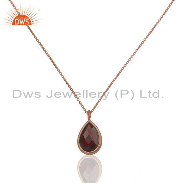 Natural Garnet Birthstone Rose Gold Plated 925 Silver Pendant Supplier