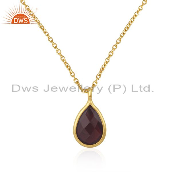 Garnet gemstone 925 silver yellow gold plated chain pendant manufacturer india