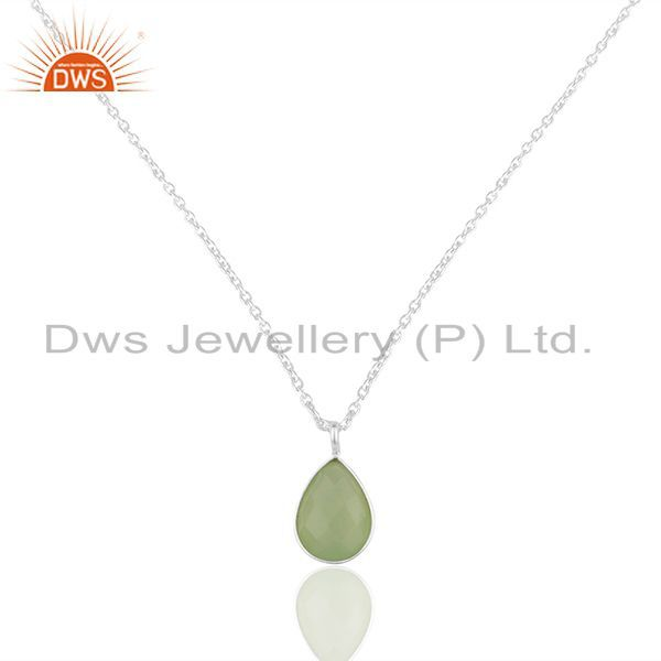 Handmade sterling silver green chalcedony bezel set drop pendant with chain