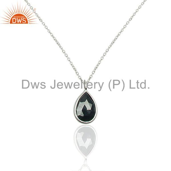 Pear Shape Hematite Gemstone 925 Sterling Silver Chain Pendant