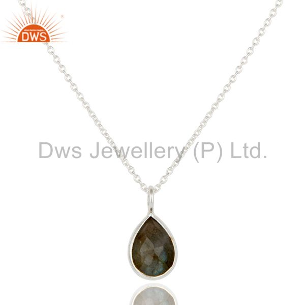 Solid 925 sterling silver labradorite gemstone bezel set pendant with chain