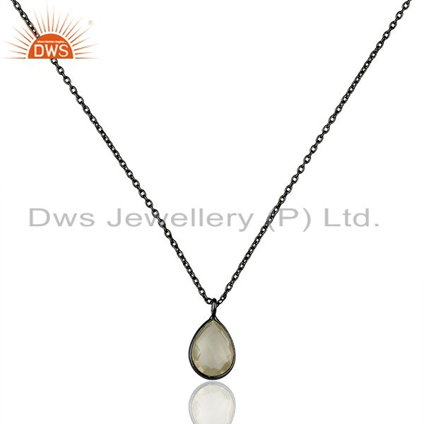 Oxidized Sterling Silver Lemon Topaz Bezel Set Drop Pendant With Chain Necklace