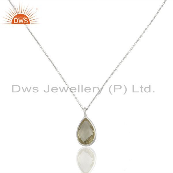 Lemon Topaz Gemstone 925 Silver Chain Pendant Jewelry Manufacturers