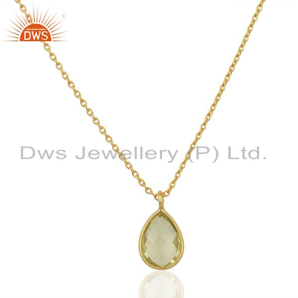 Lemon topaz simple drop gold plated sterling silver wholesale pendent jewelry