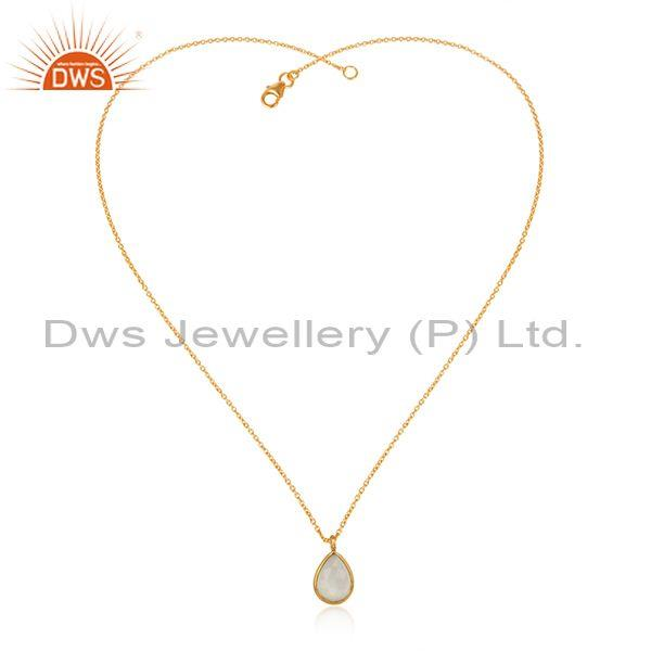 925 Silver Gold Plated White Moon Stone Pendant With Chain