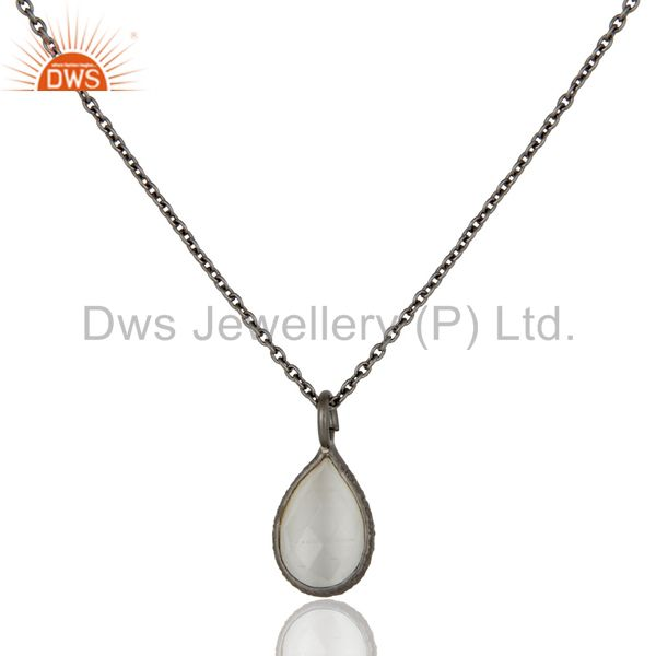 Black Rhodium Plated Sterling Silver White Moonstone Drop Pendant With 17