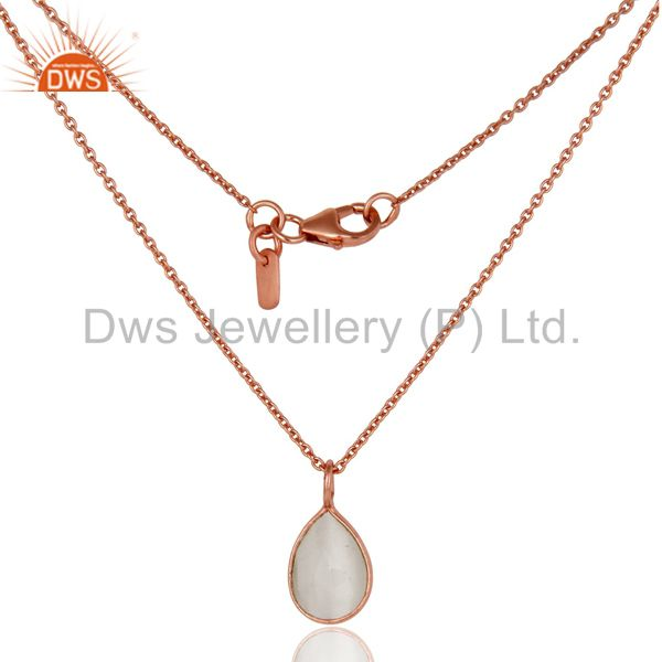 18K Rose Gold Plated Silver White Moonstone Bezel Set Pendant With Chain